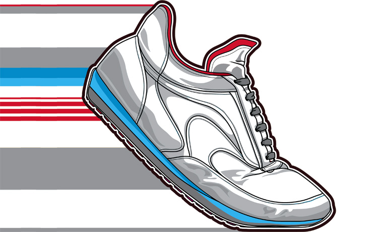 A red and grey shoe graphic with stripes behind it to indicate speed